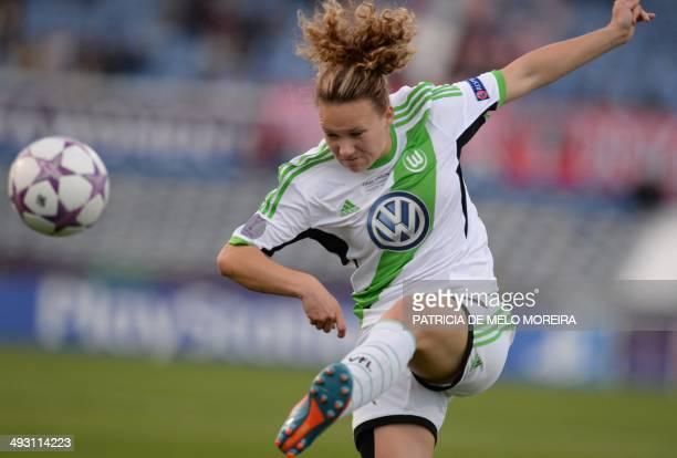 Wolfsburg's defender Josephine Henning kicks the ball during the UEFA Women's Champions League final football match Tyreso FF vs Vfl Wolfsburg at...