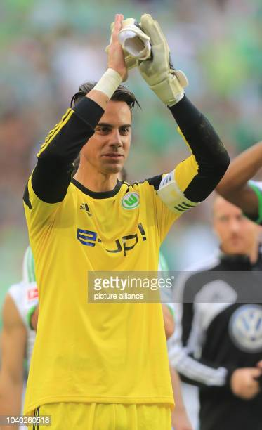 Wolfsburg's Diego Benaglio applauds during the match between VfL Wolfsburg and TSG 1890 Hoffenheim at VolkswagenArena in Wolfburg Germany 21...