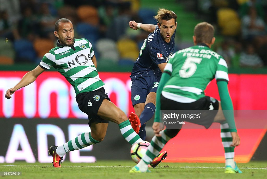 Wolfsburg's forward Ismail Azzaoui with Sporting CP's defender Jefferson from Brazil in action during the Pre Season Friendly match between Sporting CP and Wolfsburg at Estadio Jose Alvalade on July 30, 2016 in Lisbon, Portugal.