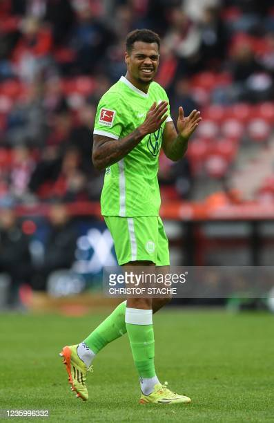 Wolfsburg's German forward Lukas Nmecha reacts during the German first division Bundesliga match between Union Berlin and VfL Wolfsburg in the...