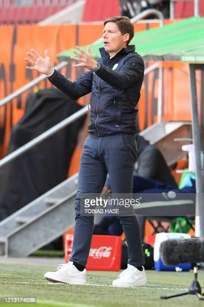 Wolfsburg's German head coach Oliver Glasner reacts during the German first division Bundesliga football match FC Augsburg v VfL Wolfsburg on May 16,...