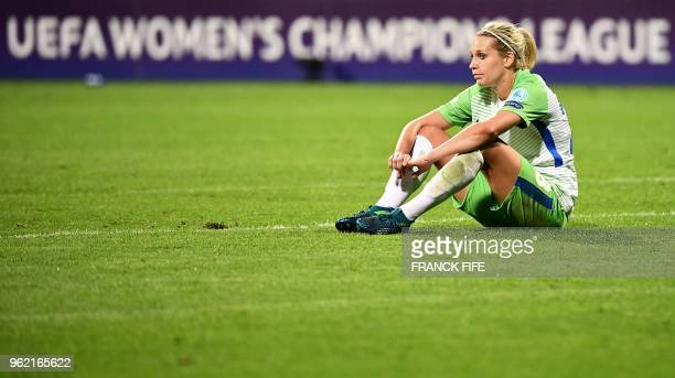 Wolfsburg's German midfielder Anna Blasse reacts after being defeated at the end of the UEFA Women's Champions League final football match Vfl...