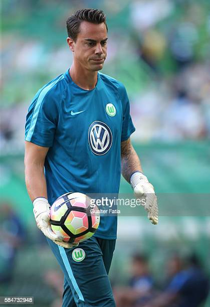 Wolfsburg's goalkeeper Diego Benaglio in action during the warm up before the start of the Pre Season Friendly match between Sporting CP and...
