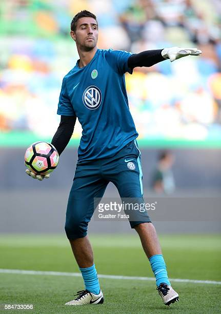 Wolfsburg's goalkeeper Koen Casteels in action during the warm up before the start of the Pre Season Friendly match between Sporting CP and Wolfsburg...