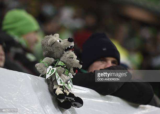 Wolfsburg's mascot is pictured prior to the German first division Bundesliga football match VfL Wolfsburg v FC Bayern Muenchen at the Volkswagen...