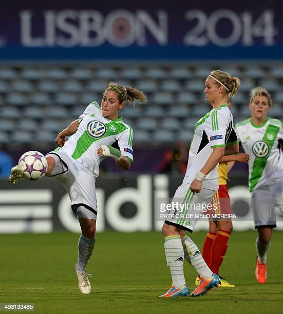 Wolfsburg's midfielder Anna Blaesse controls the ball past Wolfsburg's forward Alexandra Popp during the UEFA Women's Champions League final football...