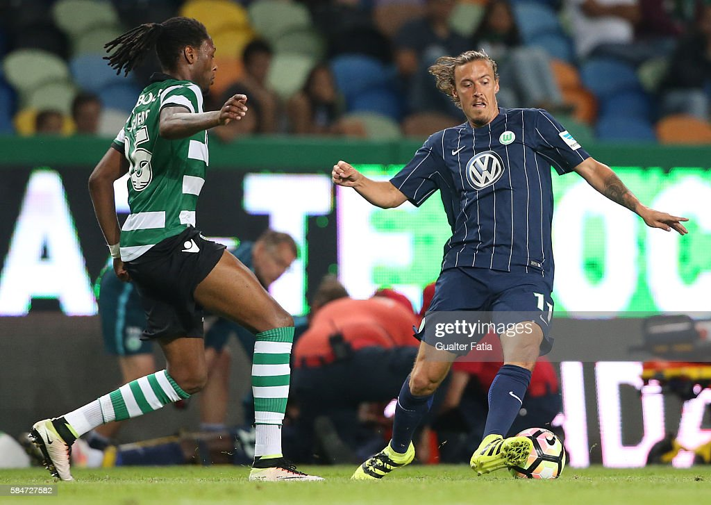 Wolfsburg's midfielder Max Kruse with Sporting CP's defender Ruben Semedo in action during the Pre Season Friendly match between Sporting CP and Wolfsburg at Estadio Jose Alvalade on July 30, 2016 in Lisbon, Portugal.