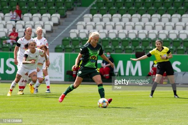 Wolfsburg's Pernille Harder scores a penalty to make it 10 during the Flyeralarm Frauen Bundesliga match between VfL Wolfsburg Women's and 1 FC Koeln...