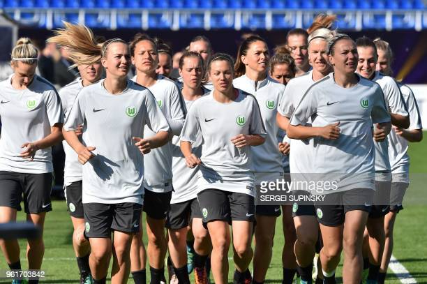 Wolfsburg's players take part in the training session at the Valeriy Lobanovsky Stadium in Kiev on May 23 on the eve of the UEFA Women's Champions...