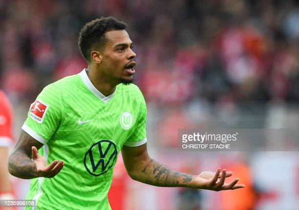 Wolfsburg's striker Lukas Nmecha gestures during the German first division Bundesliga match between Union Berlin and VfL Wolfsburg in the stadium in...