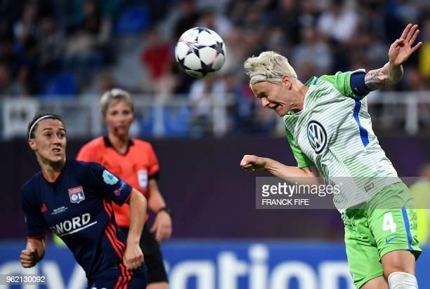 Wolfsburg's Swedish defender Nilla Fischer heads the ball during the UEFA Women's Champions League final football match Vfl Wolfsburg vs Olympique...