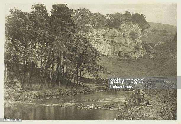Wolfscote Bridge and Franklyn Rock, Beresford Dale, 1880s. A work made of photogravure, plate liv from the album 'the compleat angler or the...
