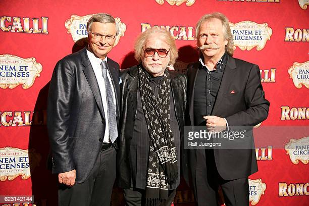 Wolgang Bosbach Bernhard Paul and Henning Krautmacher attend the premiere of the Circus Roncalli show 'Panem et Circenses' on November 13 2016 in...
