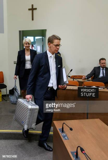 Wolgang Heer and Anja Sturm lawyers of main defendant Beate Zschaepe arrive during the trial on terror charges in connection with the neoNazi NSU...