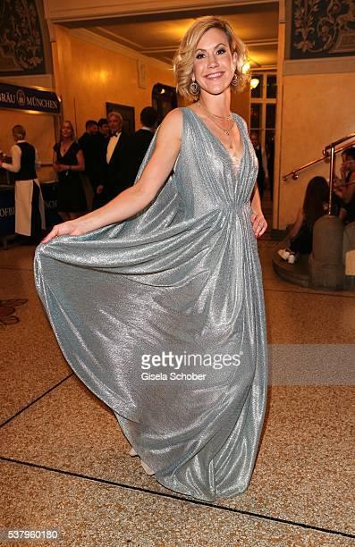 Wolke Hegenbarth wearing a silver dress by Talbot Runhof during the 'Bayerischer Fernsehpreis' 2016 at Prinzregententheater on June 3 2016 in Munich...