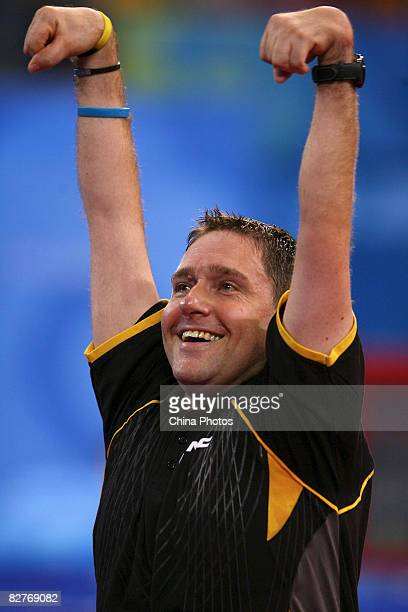 Wollmert Jochen of Germany celebrates after winning in the Men's Individual Class 7 Table Tennis event between Wollmert Jochen of Germany and Ye...