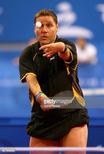 Wollmert Jochen of Germany competes in the Men's Individual Class 7 Table Tennis event between Wollmert Jochen of Germany and Ye Chaoqun of China at...