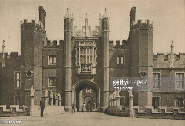 Wolsey's West Facade of Hampton Court Palace and the Disinterred Bridge', circa 1935. Hampton Court, former royal palace in Richmond upon Thames,...