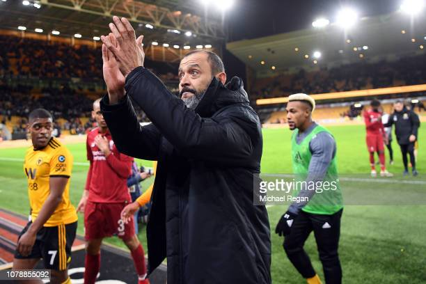 Wolver Manager Nuno Espirito Santo applauds fans after his side won the Emirates FA Cup Third Round match between Wolverhampton Wanderers and...