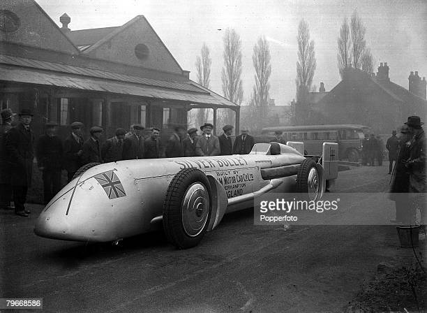 Wolverhampton England 21st February Silver Bullet the revolutionary car in which Britain's Kaye Don will attempt to beat Sir Henry Segrave's speed...