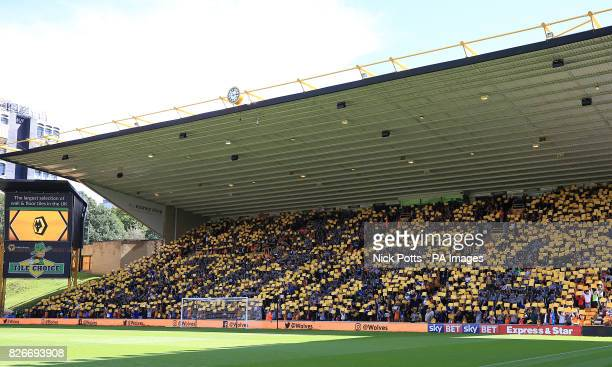 Wolverhampton supporters spell the name Carl in the stands in support of Carl Ikeme during the Sky Bet Championship match at Molineux Wolverhampton