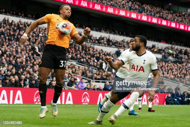 Wolverhampton Wanderers' Adama Traore shields the ball from Tottenham Hotspur's Japhet Tanganga during the Gallagher Premiership Rugby match between...