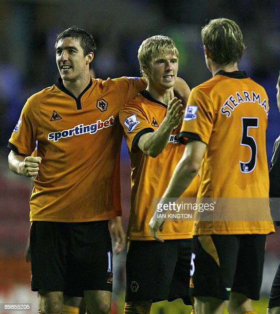 Wolverhampton Wanderers Andy Keogh celebrates the win at the final whistle with Wolverhampton Wanderers Stephen Ward and Wolverhampton Wanderers...