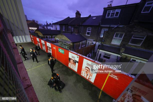 Wolverhampton Wanderers arrive at Griffin Park the home stadium of Brentford prior to the Sky Bet Championship match between Brentford and...