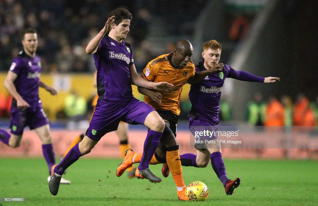 Wolverhampton Wanderers' Benik Afobe battles for the ball with Norwich City's Timm Klose and Norwich City's Harrison Reed during the Sky Bet Championship match at Molineux, Wolverhampton.