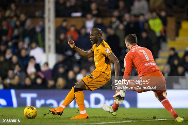 Wolverhampton Wanderers' Benik Afobe under pressure from Fulham's Marcus Bettinelli during the Sky Bet Championship match between Fulham and...