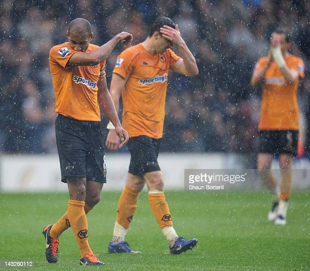Wolverhampton Wanderers captain Karl Henry and Stephen Ward are dejected at the end of the Barclays Premier League match between Wolverhampton...