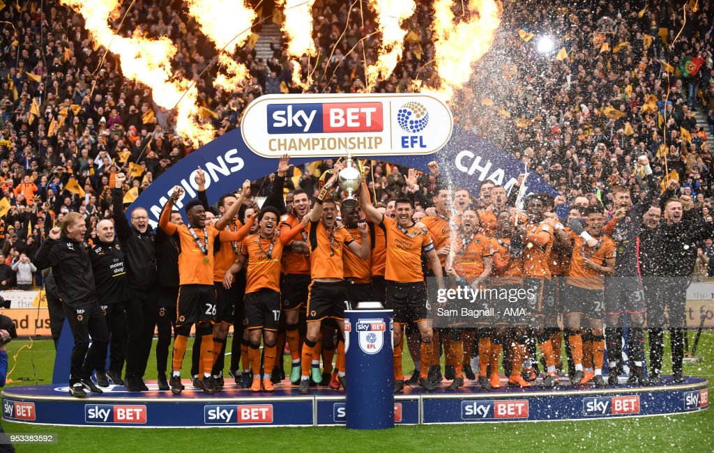 Wolverhampton Wanderers celebrate winning the Championship during the Sky Bet Championship match between Wolverhampton Wanderers and Sheffield Wednesday at Molineux on April 28, 2018 in Wolverhampton, England.
