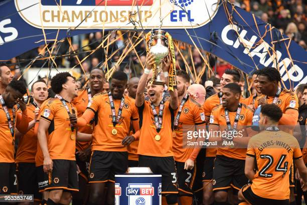 Wolverhampton Wanderers celebrate winning the Championship during the Sky Bet Championship match between Wolverhampton Wanderers and Sheffield...