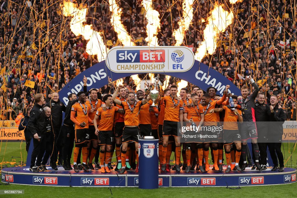 Wolverhampton Wanderers celebrate winning the Sky Bet Championship after the Sky Bet Championship match between Wolverhampton Wanderers and Sheffield Wednesday at Molineux on April 28, 2018 in Wolverhampton, England.