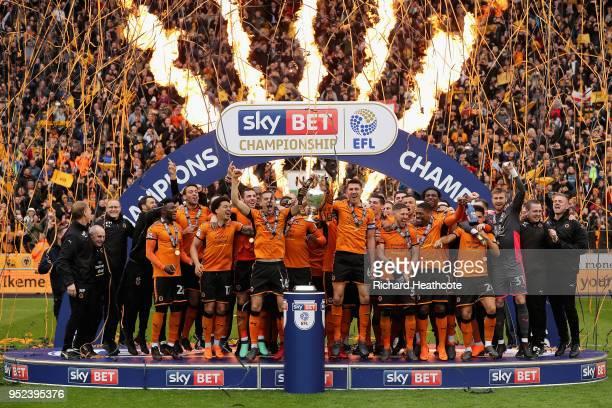 Wolverhampton Wanderers celebrate winning the Sky Bet Championship after the Sky Bet Championship match between Wolverhampton Wanderers and Sheffield...