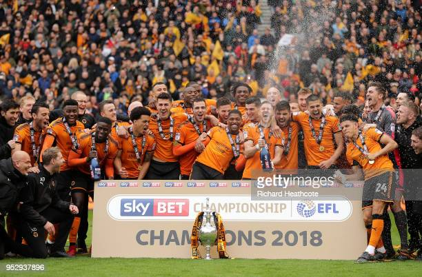 Wolverhampton Wanderers celebrate winning the Sky Bet Championship after the Sky Bet Championship match between Wolverhampton Wanderers and Sheffield...