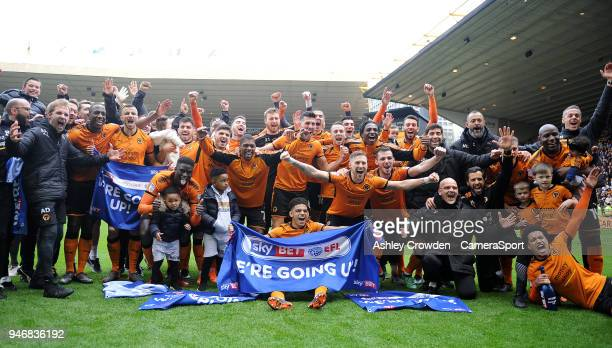 Wolverhampton Wanderers celebrates clinching promotion during the Sky Bet Championship match between Wolverhampton Wanderers and Birmingham City at...