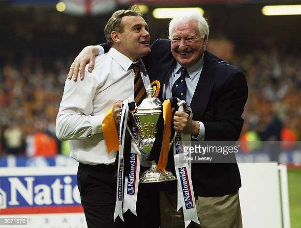 Wolverhampton Wanderers chairman Sir Jack Hayward and manager Dave Jones celebrate with trophy after the Nationwide Division One Playoff Final match...