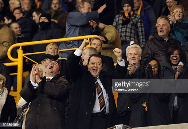 Wolverhampton Wanderers chief executive Jez Moxey celebrates Wolves victory over Manchester United