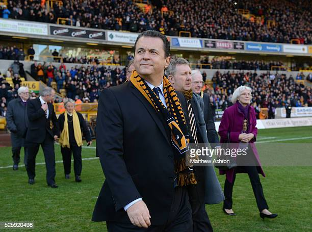 Wolverhampton Wanderers chief executive Jez Moxey leads directors onto the pitch for Sir Jack Hayward tribute