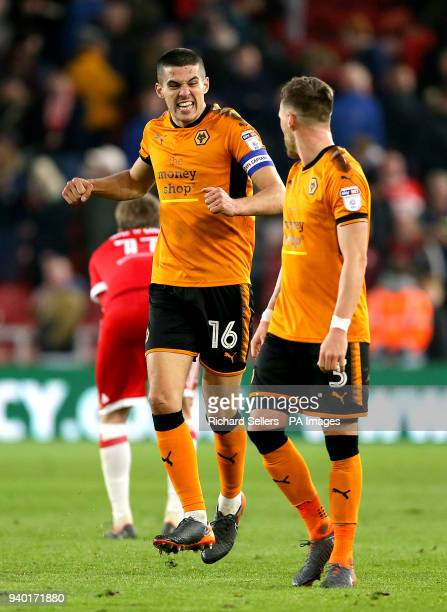Wolverhampton Wanderers' Conor Coady and Wolverhampton Wanderers' Barry Douglas celebrate after the final whistle during the Sky Bet Championship...