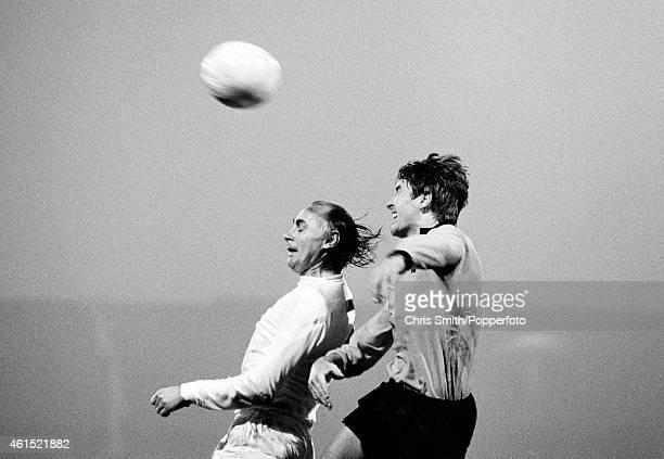 Wolverhampton Wanderers defender Derek Jefferson outjumps Tottenham Hotspur striker Alan Gilzean during the League Cup SemiFinal 2nd leg between...