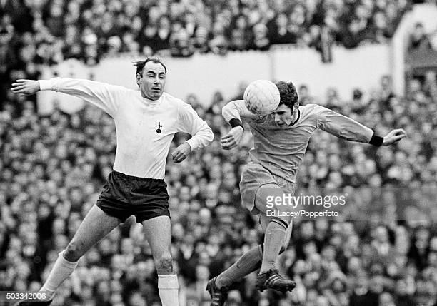 Wolverhampton Wanderers defender John McAlle heading the ball away from Tottenham Hotspur striker Alan Gilzean during their match at White Hart Lane...