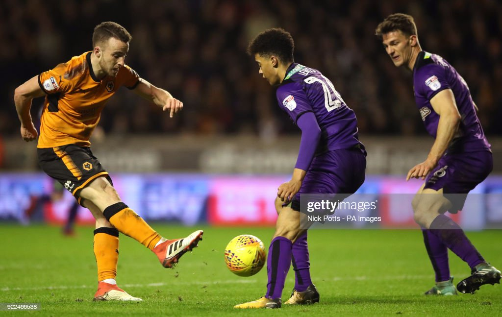 Wolverhampton Wanderers' Diogo Jota shot at goal is blocked by Norwich City's Jamal Lewis during the Sky Bet Championship match at Molineux, Wolverhampton.