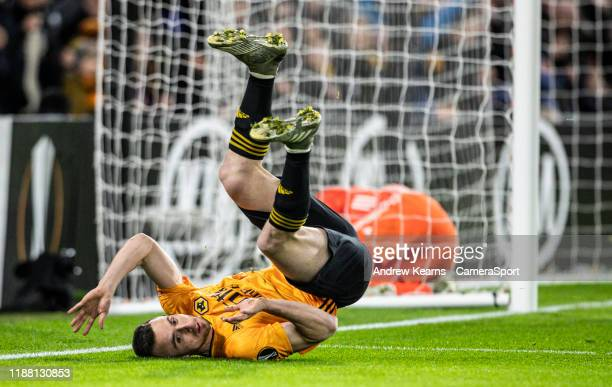 Wolverhampton Wanderers' Diogo Jota somersaults after scoring his side's first goal during the UEFA Europa League group K match between Wolverhampton...