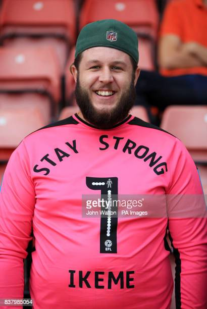 A Wolverhampton Wanderers fan shows his support for goalkeeper Carl Ikeme following his acute leukaemia diagnosis before the Carabao Cup Second Round...