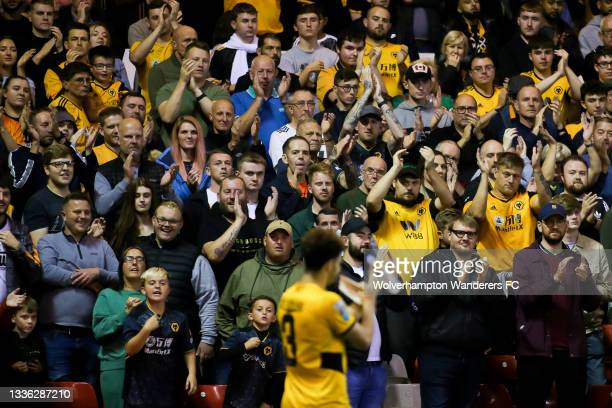 Wolverhampton Wanderers fans applaud Rayan Ait-Nouri as he walks off the pitch during the Carabao Cup Second Round match between Nottingham Forest...