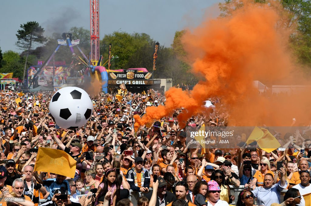 Wolverhampton Wanderers fans during their celebrations of winning the Sky Bet Championship on a winners parade around the city of Wolverhampton on May 7, 2018 in Wolverhampton, England.