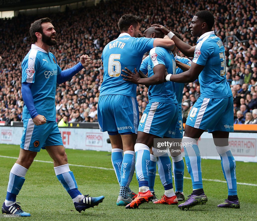 Wolverhampton Wanderers FC celebrate after Benin Afobe equalising goal during the Sky Bet Championship match between Derby County and Wolverhampton Wanderers at Pride Park Stadium on October 18, 2015 in Derby, England.
