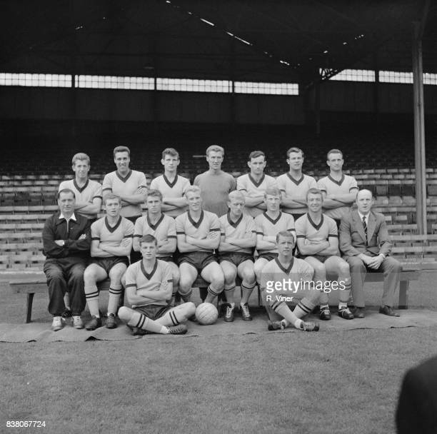 Wolverhampton Wanderers Football Club players manager Stan Cullis trainer Joe Gardiner and physiotherapist JT Howley pose for a group photo 3rd...